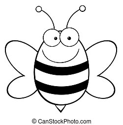 Outlined Happy Bee