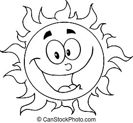 Outlined Happy Sun