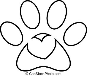 Outlined Love Paw Print Logo Design With Heart