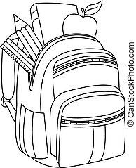 Outlined school backpack