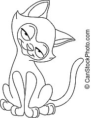 Outlined siamese cat