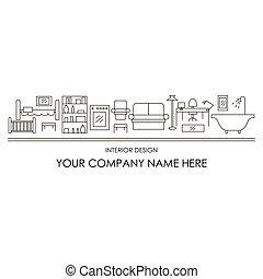 Outlines of furniture for interior design agency banner