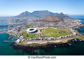 overall aerial view of Cape Town, South Africa