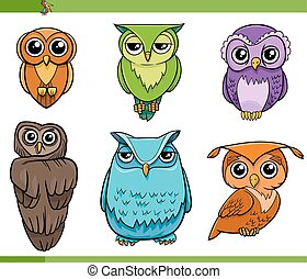 owl bird characters cartoon set