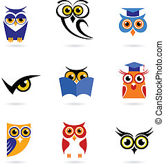 Owl icons and logos