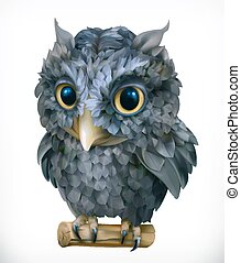 Owl. Night bird. Funny animal. 3d vector icon