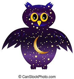 owl-night. owl silhouettes painted with a night sky with stars and a young moon