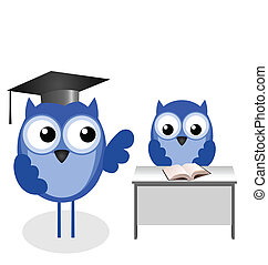 Owl teacher and pupil with copy space