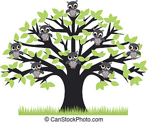 a tree with cute owls