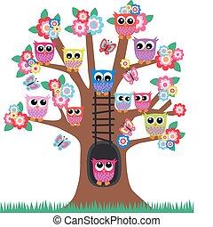 owls in a tree