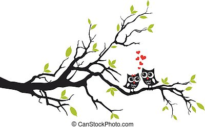Owls in love on tree, vector