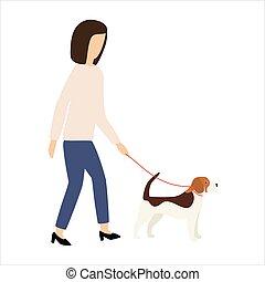 Owner and Beagle dog on leash walking .