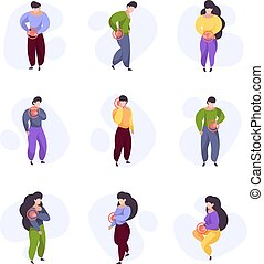 Pain feelings. Human body sickness injury arms pain area on people legs and neck or head garish vector illustrations