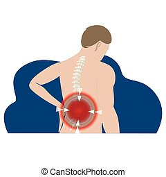 Pain in back, stretching tension or protrusion, herniated disc. Vector pain point in skeleton, body ache, vector injury spine, vertebrae backache, hurt and painful spinal nerve illustration
