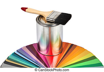 Paint brush, tin can and color guide samples isolated on white