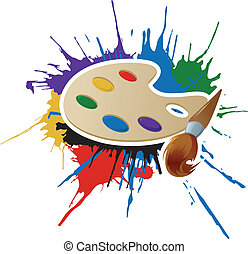 Vector image of paint, palette and brush