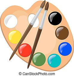 Paint palette with brushes, vector illustration