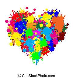 Paint splatter heart on white background, vector illustration