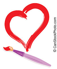 Paintbrush and drew red heart. Abstract love concept illustration.