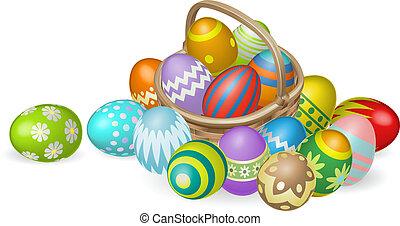 Painted Easter eggs in basket illustration
