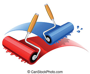 Vector illustration of red and blue paint roller
