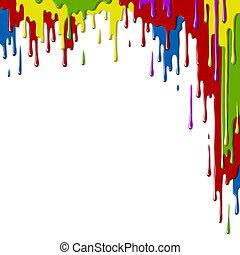 Smudges paint of different colors