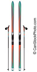 cross-country skis with ski poles isolated