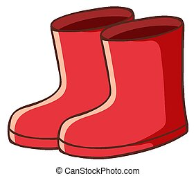 Pair of red boots on white background