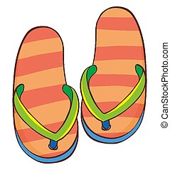 Pair of sandals on white background