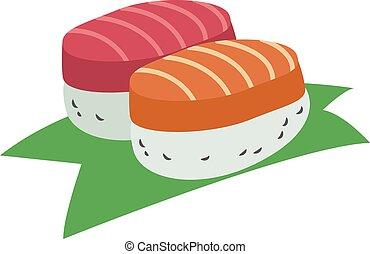 Pair of sushi, illustration, vector on white background.
