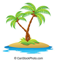 illustration of palm tree in island on isolated background