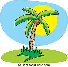 Cartoon illustration of palm tree.