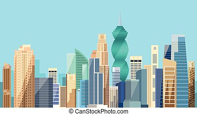 Panama City Skyscraper View Cityscape Background Skyline Flat Illustration
