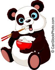 Panda eating rice with chopsticks