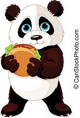 Illustration of cute Panda eats hamburger