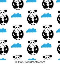 panda seamless pattern vector. panda bear cute hug repeat with blue cloud wallpaper tile background cartoon