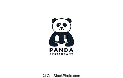 panda with fork and spoon logo
