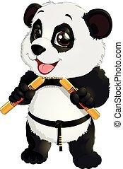 panda with nunchaku