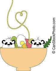 Panda's in a noodle bowl