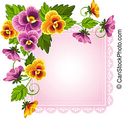 Gentle floral background with pansy. Flowers and leaves drawn with no gradients.
