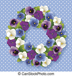 Pansy Wreath, Pastel Blue