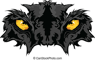 Graphic Team Mascot Image of Panther Eyes