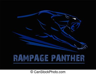 fang face muscular panther, roaring and crawling in the dark. blue line art over the black background. glowing exotic panther. black panther with the lighting eye.