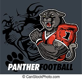 panther football team design with panther mascot for school, college or league