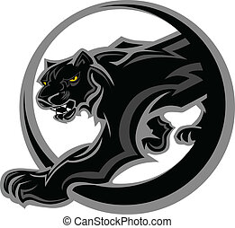 Graphic Mascot Vector Image of a Black Panther Body