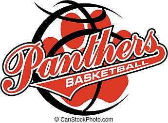 panthers basketball team design with tail and paw print inside basketball