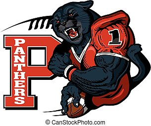 panthers football player mascot holding ball for school, college or league