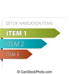 Paper arrows - modern navigation items on white background (vector)
