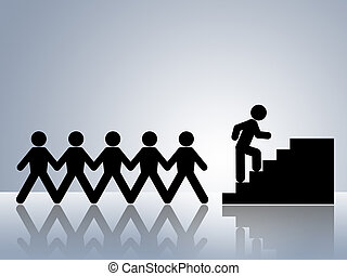 paper chain figures climbing stairs job promotion or career move