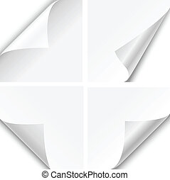 Set of four paper corner folds isolated on white background.